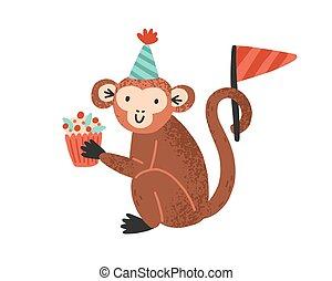 sombrero, illustration., alegre, plano, cumpleaños, divertido, white., dulce, vector, animal, mono, lindo, tenencia, cupcake, cono, postre, festivo, celebratory, mono tití, infantil, aislado, bandera