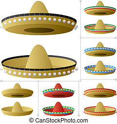Sombrero in 2 positions and 6 color variations. No transparency used. Basic (linear) gradients.