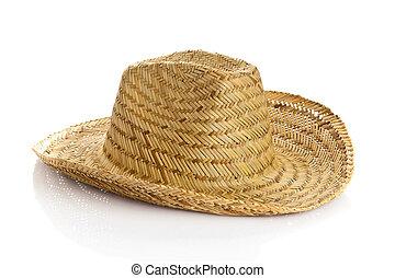 sombrero, isolerat, vita, bakgrund., halmhatt