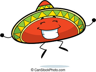 Sombrero Jumping - A happy cartoon sombrero jumping and...