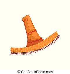 sombrero, klobouk, vektor, ilustrace, dále, jeden, běloba grafické pozadí