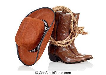 sombrero, lazo, botas de vaquero