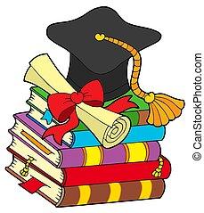 sombrero, libros, pila, graduación