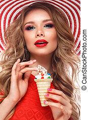 sombrero, manicura, brillante, niña, maquillaje, face., hielo, colorido, rosa, crema, alegre, hands., verano, rizos, belleza