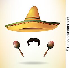 Sombrero maracas and mustache. Sombrero Hat. vector
