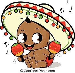 sombrero, mariachi, illustration, vecteur, musique, maracas...