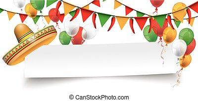 sombrero, mayo, de, buntings, cinco, papel, chile, bandera