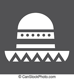 Sombrero Mexican hat solid icon, Travel tourism