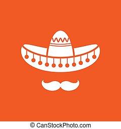 Sombrero, Mexican hat with mustache. Flat logo isolated on orange background. vector illustration. Cinco De Mayo symbol. Mexico symbol.