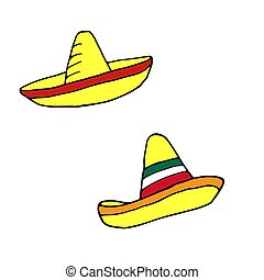 Sombrero - mexican traditional hat. Hand drawn sketch doodle. Vector color illustration for menu, poster, web and package design. Isolated on white background.