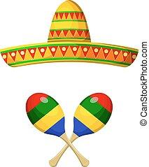 sombrero, mexicano, maracas, branca, objetos, festival., nacional, experiência.