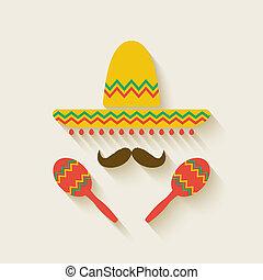 sombrero, mexicano, maracas