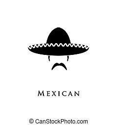 sombrero mexicano, sombrero, y, mustache.