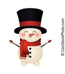 sombrero muñeco nieve, icono, cima, navidad