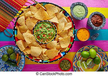 sombrero, nachos, tortilla scheggia, guacamole
