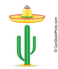 sombrero national mexican headdress and cactus vector illustration