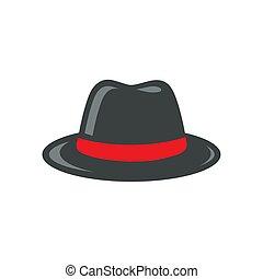 sombrero negro, fedora, ilustración