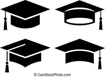 sombrero, negro, graduación, icono, cuadrado