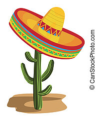 Illustration of a sombrero on a cactus isolated on white