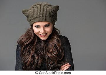 sombrero, orejas, divertido, hermoso, sexy, mujer, joven