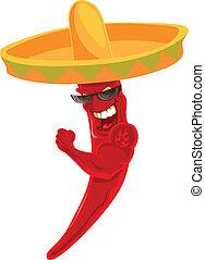sombrero, pimentão, mexicano, forte