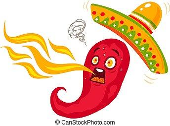 sombrero, piment, mexicain, nourriture.