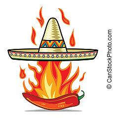 sombrero, pimenta pimentão, cartaz