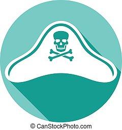sombrero, pirata, icono