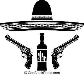 sombrero, pistolas, tequila, dos