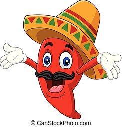 sombrero, poivre, heureux, piment, dessin animé
