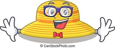 sombrero, raro, caricatura, anteojos, geek, verano, llevando, dibujo