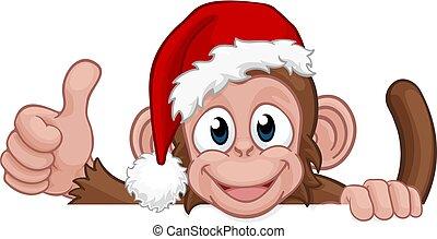 sombrero, santa, mono, navidad, caricatura, carácter