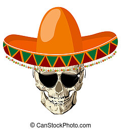 Sombrero skull - Mexican human skull with sombrero hat and...