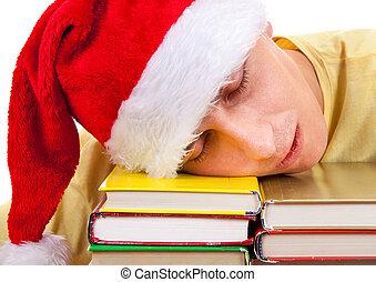 sombrero, sueño, estudiante, santa