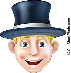 sombrero superior, caricatura, hombre