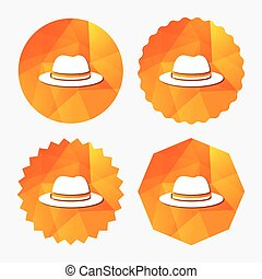 sombrero superior, señal, icon., clásico, tocado, símbolo.
