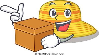 sombrero, teniendo, diseño, caricatura, alegre, caja, concepto, verano