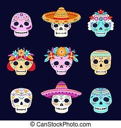 sombrero, totenschädel, gespenstisch, tragen, hat., blumen, ...