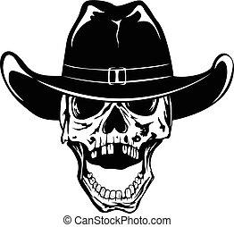 sombrero, vaquero, 2, var, cráneo