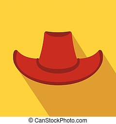 sombrero vaquero, plano, icono