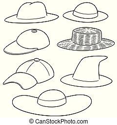 sombrero, vector, conjunto
