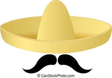 sombrero, vector, manillar, moustache., sombrero