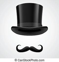 sombrero, victoriano, caballero, stovepipe, moustaches