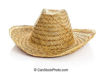 sombrero, vrijstaand, op wit, achtergrond., stro hoed