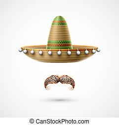 sombrero, y, bigote