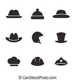 sombreros, conjunto, iconos
