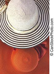 sombreros de paja, como, verano, concepto