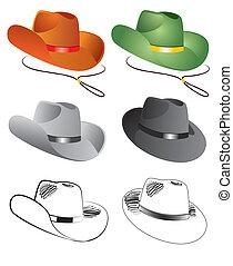 sombreros de vaquero, ilustración, vector, plano de fondo, blanco