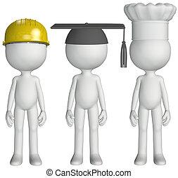 sombreros, graduado, chef, trabajo, construcción, estudiante, cocinero, ocupación