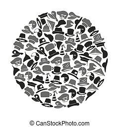 sombreros, iconos, vector, conjunto